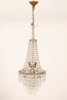 Empire Balloon chandelier with glass crystals-first half of the 20th century, 30s/40s, Italy.