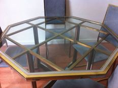 Unknown designer — Large hexagonal steel and brass table with chairs (x4)