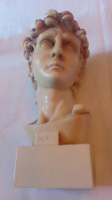 Beautiful bust in the resin david of michelangelo. - Signed in. giannetti