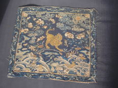 Silk mandarin square (rank badge) with leopard, China, nineteenth century