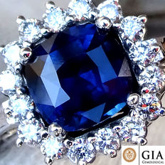 1.65 ct Unheated Sapphire and Diamond cocktail ring – GIA Certified – No Reserve
