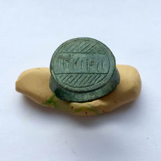 Ancient Roman Bronze ring with a linear ornamentation. / 19mm