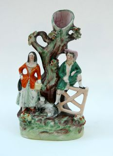 Antique Staffordshire Pottery Spill Vase with Rural figures and dog