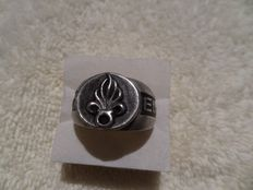 Foreign Legion Sterling Silver ring and folding knife