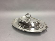 Silver plated double serving tray with detachable knob, Rogers, U.S.A, ca. 1925