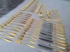 Cutlery set for 12 place settings - SBS Solingen - 24 carat hard gold plated