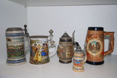 lot of 5 Hand-painted Beer Jugs, 2 Brass Oil Jugs