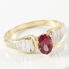 Estate 14kt Yellow and White Gold Ring  Set with Rhodolite