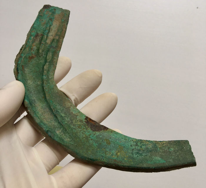 Bronze Age / Bronze Decorated Sickle - 170 mm.
