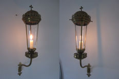 Two gorgeous original flambeau sconces - 20th century