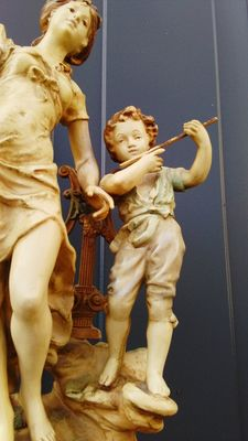 L&F Moreau - vintage zamac sculpture of a young lady and child playing an instrument