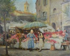 George Edward Robertson (1864-1920) - The Flower Market