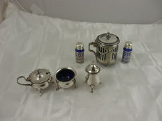 6 items table ware with blue glass, England and WMF Germany, early 20th century