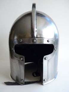 Knight helmet - from around 1350 AD - steel (replica)