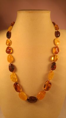 Multicolour Baltic amber bracelet and necklace,  51gr
