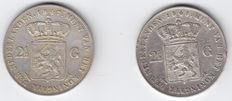 The Netherlands – 2½ guilder 1847 and 1848 Willem II – silver