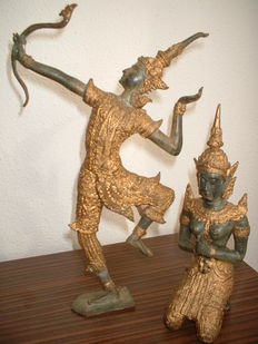 2 bronze figures- Thailand - second half of the 20th century