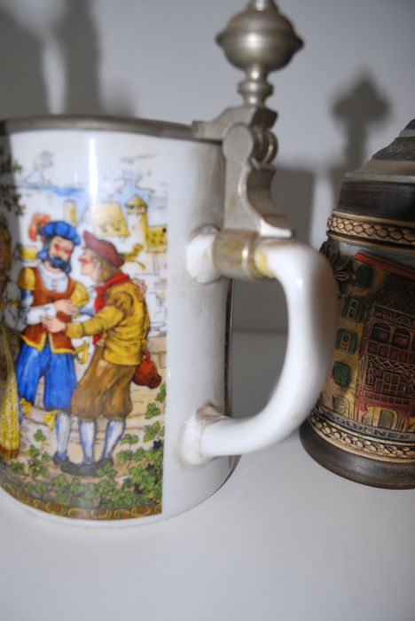 lot of 5 hand painted beer jugs 2 brass oil jugs catawiki