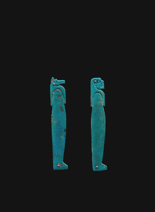 Two Egyptian Amulets, sons of Horus Duamutef and Amset - 8,4 cm and 8,5 cm (2)