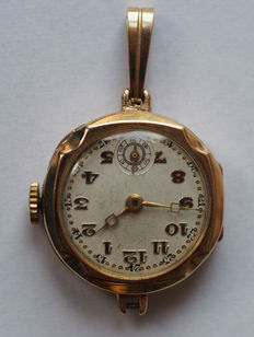 Gold nurse's watch / small clock with eyelet