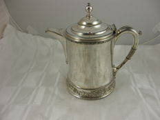 Large antique silver plated teapot with ceramic interior, Rogers Smith & Co., USA, around 1880