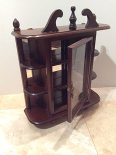 Vintage wooden display cabinet, with mirrored back and glass door, for on the wall.