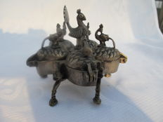 Heavy make-up carrousel with peacocks - India - beginning 20th century