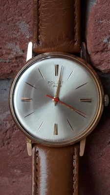 "Poljot 17 Jewels , Shock-Resist - Dust protected , ""ultra-slim"" Men's watch. Export series. Vintage Watch Soviet USSR 1961-1975 's.AU 20 ."