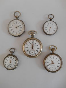 Lot of 5 pocket watches, among others, Roskopf from 1906.