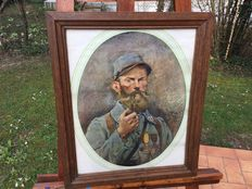 Old Watercolour portrait of a poilu of the 73 rgt of infantry smoking a pipe signed, Georges Scott 1915