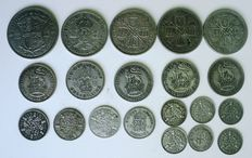 United Kingdom - 3 Pence to ½ Crown 1932/1937 (20 coins) - silver