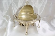 caviar or butter cooler, English, silver plated metal
