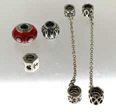 3 silver Pandora charms and 2 safety clasps by Pandora.