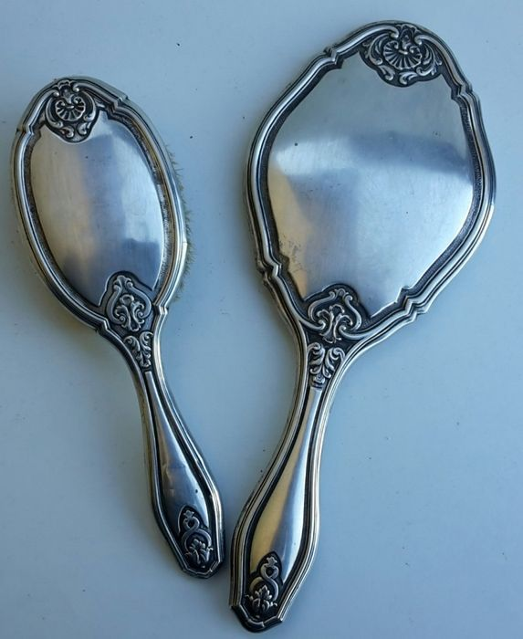 Liberty toilet set: Table mirror and brush, Art Nouveau, 800 silver
