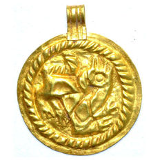 Viking Gold Repoussé Bracteate Pendant Depicting Gryphon - 41 mm