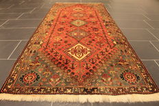 Beautiful antique hand-knotted Persian rug, Qashqai nomad rug, finest highland wool, made in Iran, 92 x 215 cm, best wool