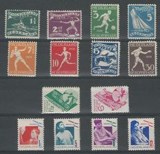 The Netherlands 1928/1931 - Olympic Games, Gouda cheeses and children's stamps - NVPH 212/219, 238/239, 240/243