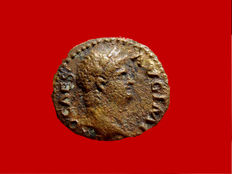Roman empire - Nero (54 - 68 A.D.), bronze quadrans (2,13 g. 17 mm.) from Rome mint, 64 A.D. Roma seated. RIC 226.