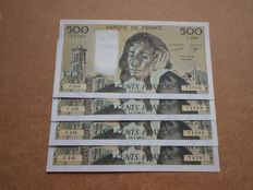 France - 4 x 500 francs 1987 - Pascal - consecutive numbers - Fayette 71.35