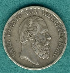 Empire, Württemberg - 5 marks 1876 F - Silver