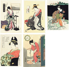 5 ukiyo-e woodcuts (reproductions) - Various authors: Five beauties - Japan - Second half of the 20th century.