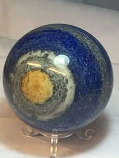 Uniquely patterned, hand-polished Lapis Lazuli sphere - 70mm - 754gm