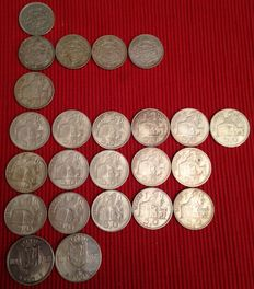 Belgium – 20, 50 and 100 franc pieces -1933 to 1949 (24 coins) – silver.