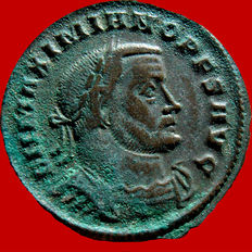 Roman Empire - Maximianus Herculius (senior Augustus, 305-307), large bronze follis (8,16 g, 26 mm ), Lugdunum mint, Summer 307. GENIO POP ROM.  S/C. PLG