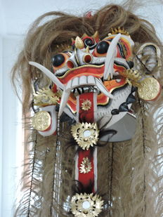Balinese Large Initiation mask - with long 'rope hair'