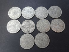 United Kingdom - Florins 1921/1936 George V (10 pieces) - silver