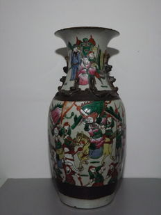 Porcelain warriors nankin vase – Chine – Late 19th century