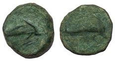 Greek Antiquity - Italy Northern Apulia Salapia - AE (15 mm, 2,93 g.), c. 275-250 BC - Dolphin / Dolphin - HN Italy 689