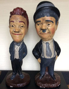 Two gypsum statues of Laurel and Hardy, 2nd half 20th century