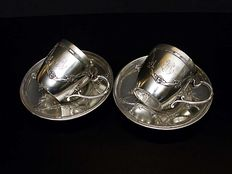 A pair of French Sterling Silver Cup & Saucers, H. Soufflot, France, 1884-1910